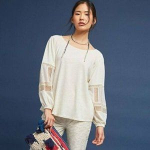 Anthro Guest Editor Ivory Crochet Peasant Top XS/P